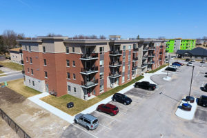 Aerial view of the Oxford Haus Apartment Complex