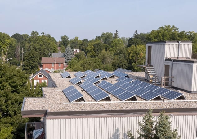 Solar panels on an apartment roof