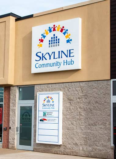 Image of the entryway to the Skyline Community Hub